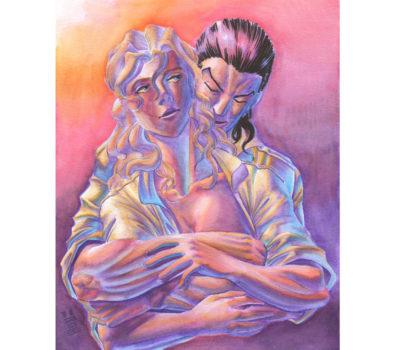 Couple, illustré aux feutres pour artistes Graph'O par Amandine Hachin