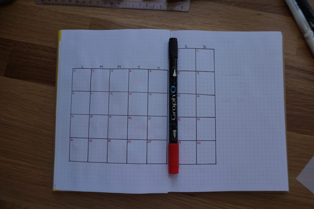 page mois bullet journal