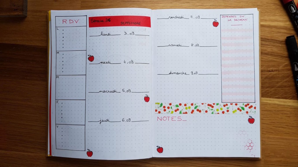 planning hebdomadaire bullet journal